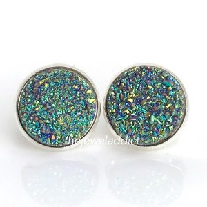 3 for $15 pastel rainbow shimmer faux druzy studs